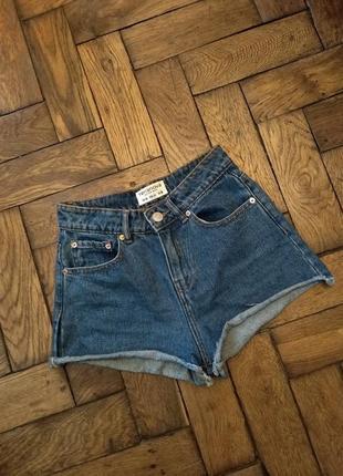 Синие джинсовые шорты с высокой посадкой terranova размер s