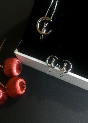 Комплект кулон подвеска ожерелье серьги пусеты кошка кошечка серебро