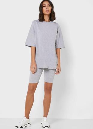 Костюм серый трикотажный футболка оверсайз велосипедки шорты новый спортивный