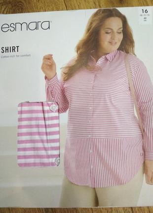 Батал! красивая рубашка в полоску esmara,  евроразмерах 44-56, есть замеры