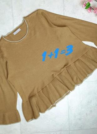 1+1=3 фирменный горчичный укороченный нарядный свитер marks&spencer, размер 52 - 54