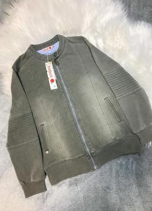 Бомбер, кофта на мальчика 10 лет, 140 см серого цвета