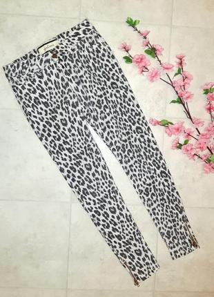 1+1=3 леопардовые узкие зауженные белые джинсы скинни by malene birger, размер 42 - 44