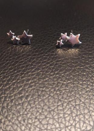 Серьги сережки серебро серебрянве звезды