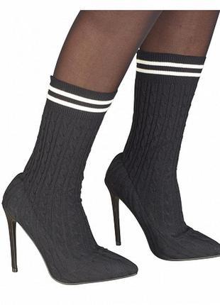 Черные сапоги на высоком каблуке в чулочном стиле от sergio todzi ♥