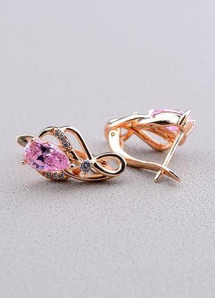Серьги 'xuping' фианит (позолота 18к (розовая)) 0981550