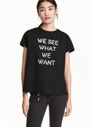 Новая футболка с принтом надписью h&m