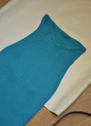 Майка в рубчик вязанная голубая топ стильный актуальный как zara