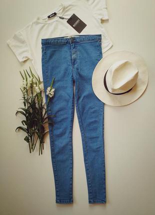 Голубые джинсы скини высокая посадка denim co 36-38