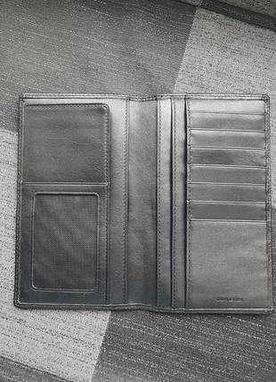 Черное брендовое портмоне кожаное кошелек купюрник натуральна кожа