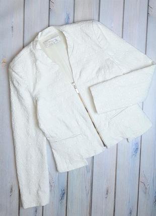 💥1+1=3 стильный фактурный белый женский пиджак zara, размер 42 - 44