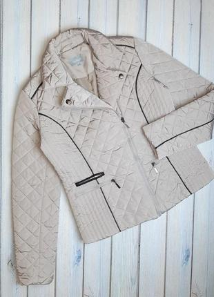 💥1+1=3 отличная бежевая стеганная куртка демисезон maddison, размер 46 - 48