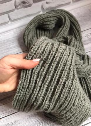 Шарф шерстяной серый тёплый шарф ручная работа в'язаний шарф сірий чорний вовняний