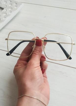 Очки имиджевые квадраты, очки для стиля в золотой оправе