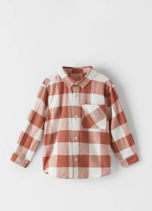Детская рубашка в клетку натуральная ткань 3-4 года зара zara kids