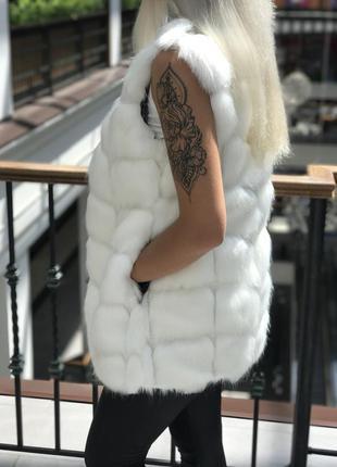 Белая меховая жилетка белый меховой жилет искусственный мех песец р-ры s - 3xl