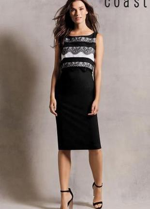 Черное прямое платье карандаш миди нарядное деловое бандажное кружевное coast 48 50