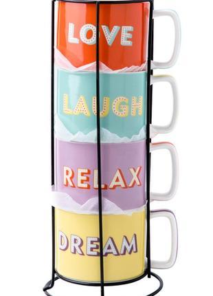 Набор чашек на подставке limited edition joy (4 шт по 330 мл)