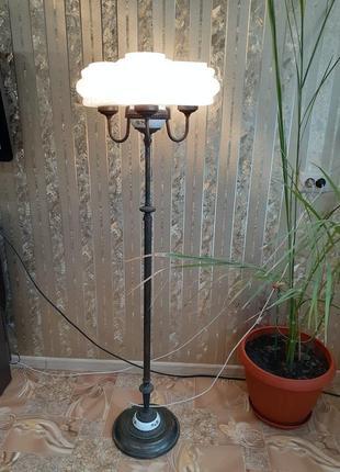 Торшер светильник ссср медный латунь с фарфором на три плафона советский винтаж