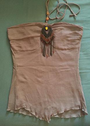 Блуза с завязками на шее