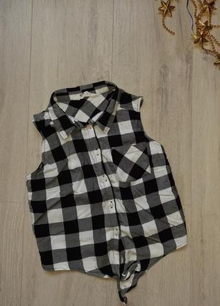 Рубашка н&м блузка сорочка без рукавов футболка майка летняя одежда детская одежда клетка