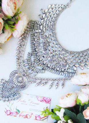 Этно-колье, ожерелье, украшение, бижутерия металлическое массивное серебристое, бохо