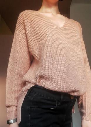Вязаная женская кофта h&m/вязаный теплый свитер базовый оверсайз длинный