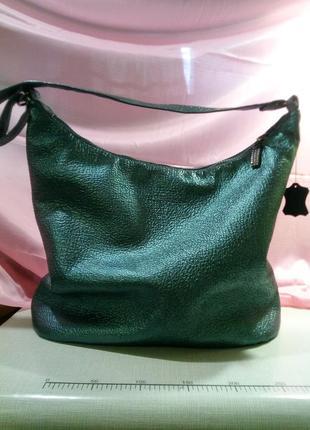 Акция!большая бирюзовая сумка из натуральной кожи с кошелечком