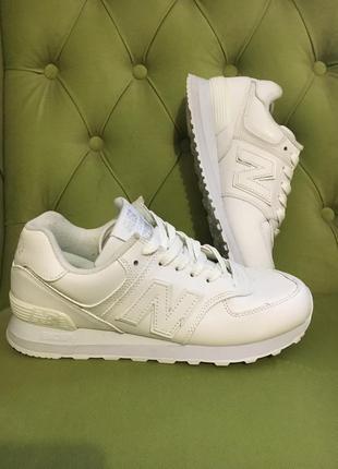Женские кроссовки new balance 574 white (нью беланс 574, белые)