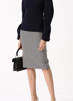 Шерстяная юбка в модный принт италия