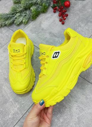 Желтые кроссовки женские лимон лимонные яркие кислотные кожаные кожа текстиль