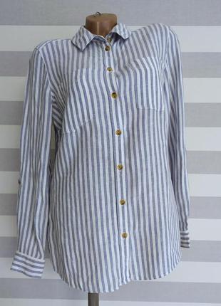 Льняная рубашка в полоску f&f