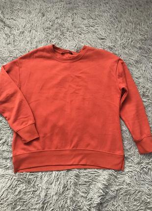 Свитшот толстовка на флисе оранжевого цвета