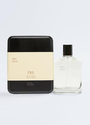 Чоловічі парфуми zara silver в подарунковій коробці мужские духи