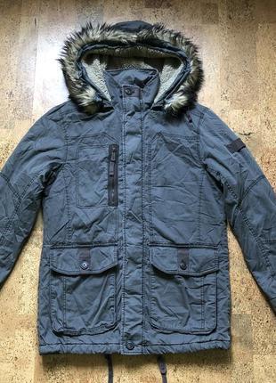Парка удлиненная мужская куртка с капюшоном на меху esprit