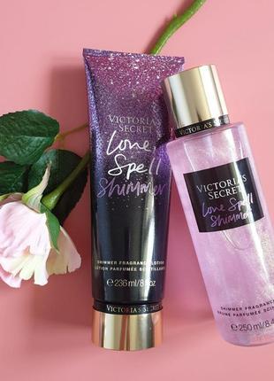 Набор лосьон +спрей для тела love spell shimmer vs 🔥акция!🔥 получи скидку 7%