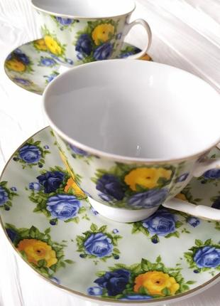 Набор чайный две чашки и две тарелки
