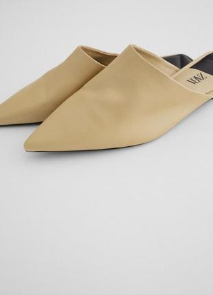 Кожаные мюли балетки туфли zara