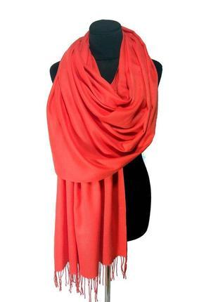 Палантин шарф кашемир коралловый шерсть кашемировый pashmina original однотонный новый