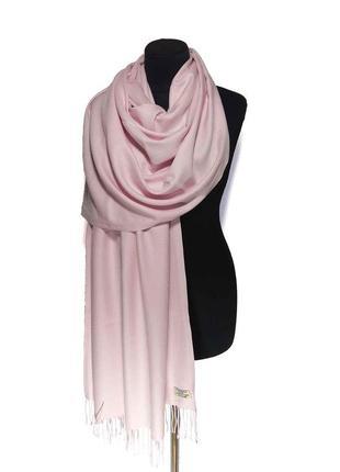 Палантин шарф кашемир розовый шерсть кашемировый pashmina original однотонный теплый