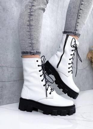 Кожаные ботинки высокие белые 36-40