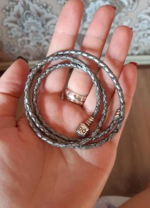 Серебряный браслет пандора pandora оригинал на кожаном шнурке