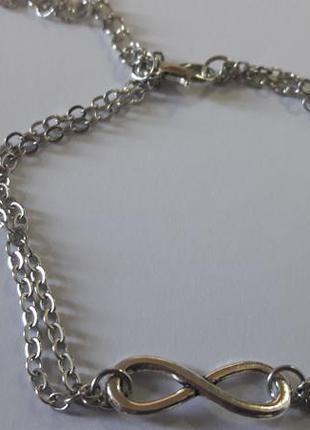 Новый серебристый двойной браслет со значком бесконечность на ногу или руку