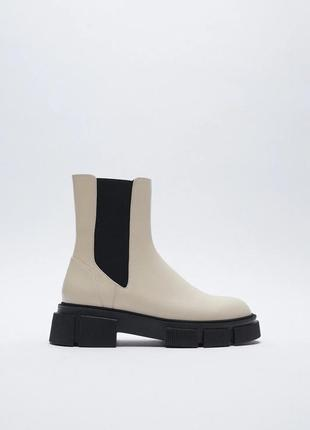 Кожаные ботинки челси на рифленой подошве платформе zara