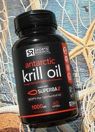 Sports research, масло антарктического криля с астаксантином, 1000 мг, 60 мягких капсул