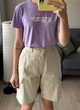 Натуральные винтажные шорты бермуды с накладными карманами