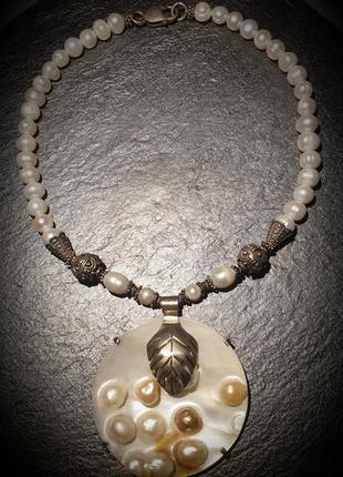 Шикарное дизайнерское ожерелье из натурального жемчуга в серебре, ручной работы