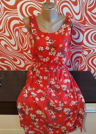 Яркий летний костюм юбка миди с карманами+майка в цветы, вискоза