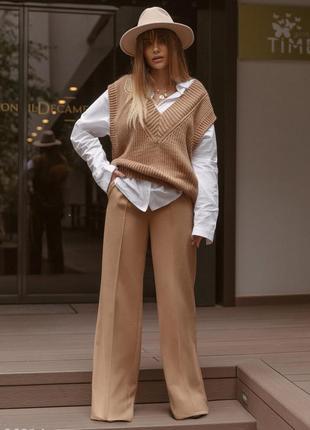 Шерстяные широкие брюки-палаццо