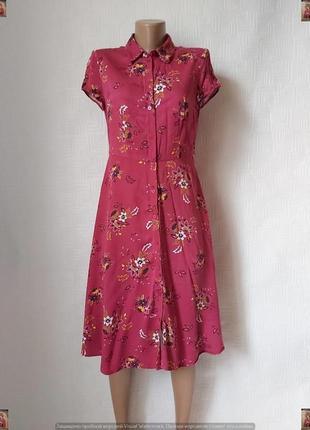 Фирменное promod легкое летнее платье миди со 100 % вискозы в цветах, размер с-м